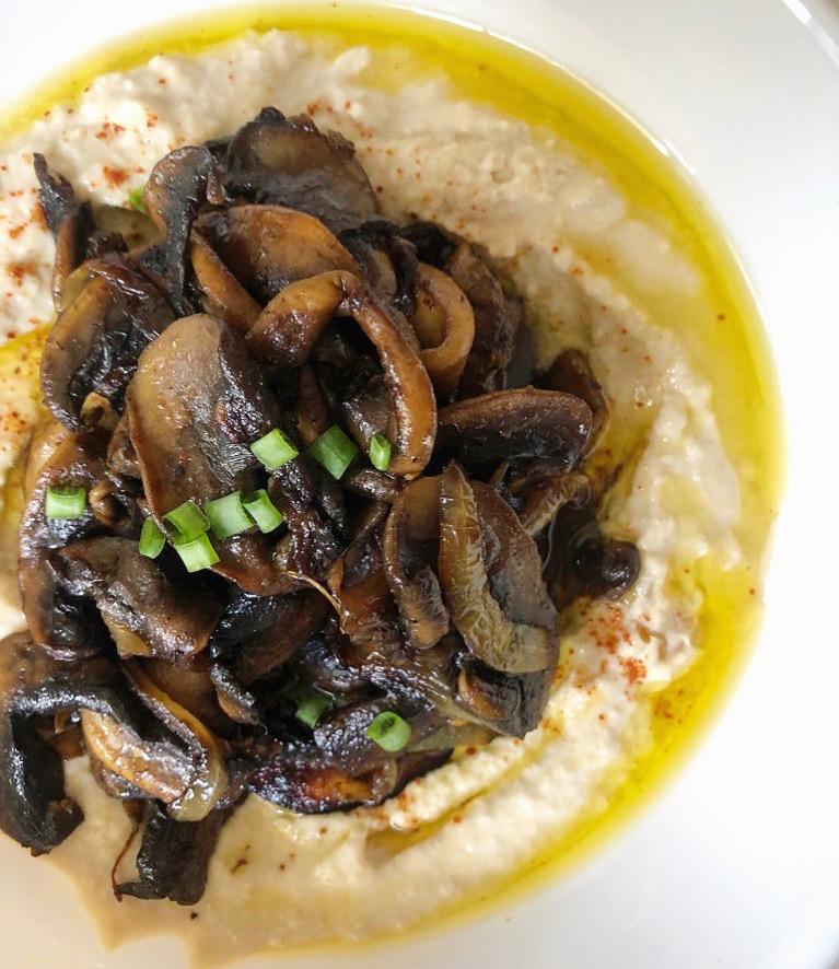 hummus, mushrooms, middle eastern food