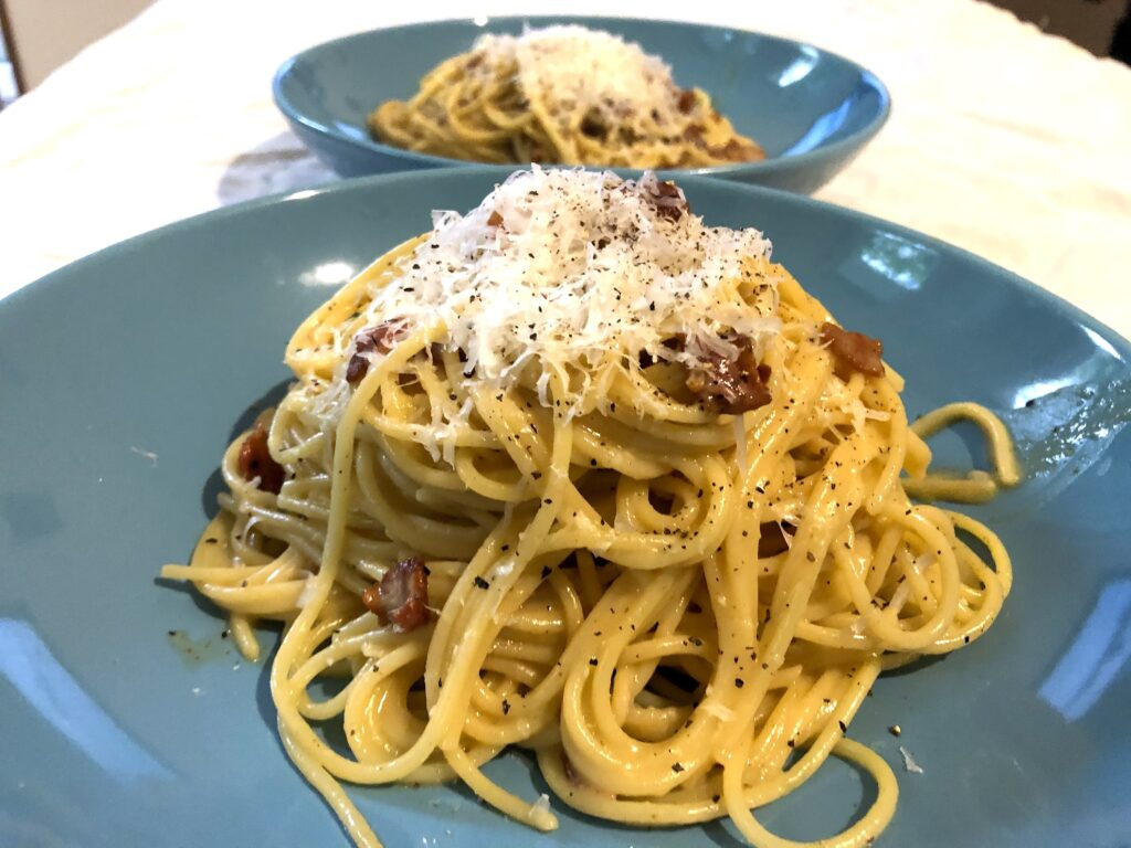 bacon spaghetti carbonara for two